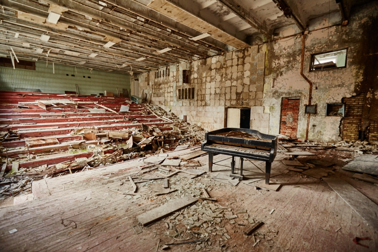 Arts school abandoned piano photo now Pripat