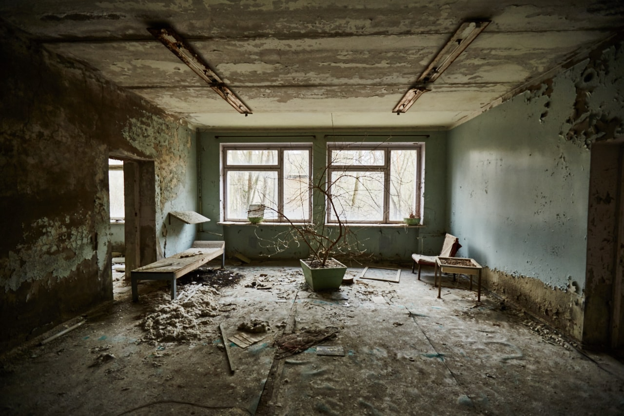 Pripyat hospital chernobyl Exclusion Zone photo now