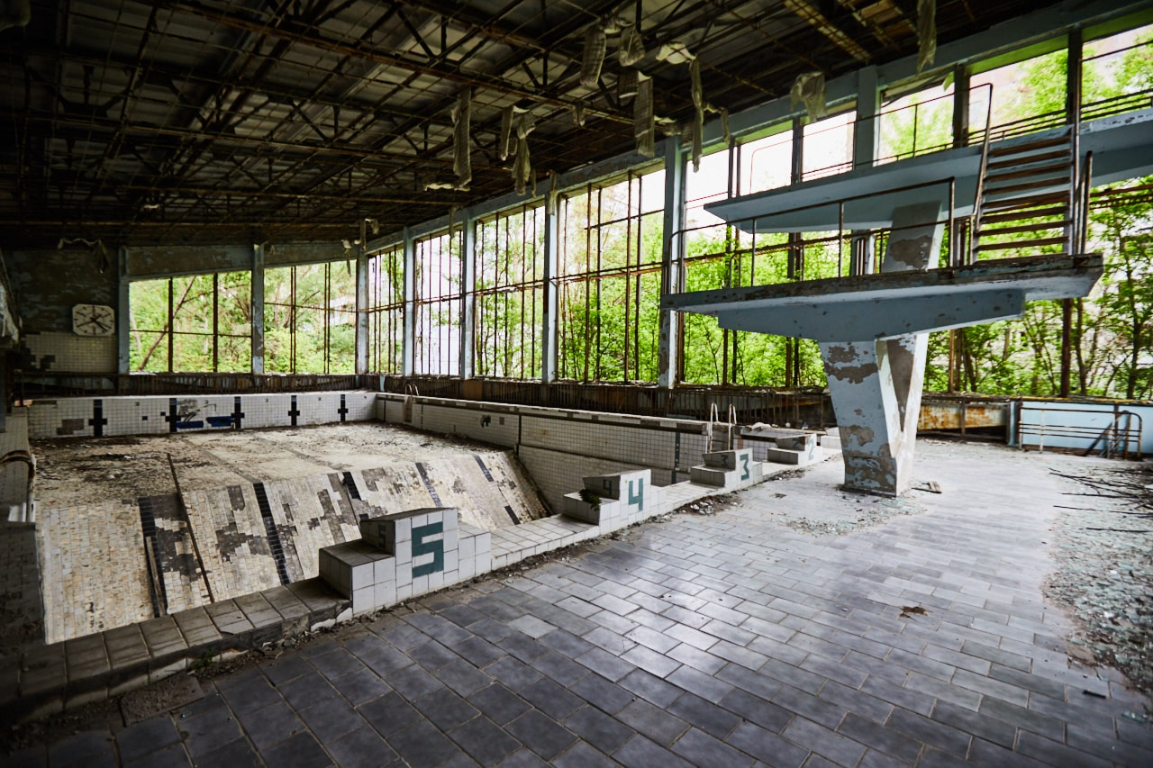 Abandoned swimming pool pripyat Chernobyl Exclusion Zone