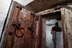 Open rusty blast resistant door to abandoned fallout bunker CHERNOBYLwel.come Another kiev urbex underground tour