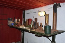 Exhibition of artifacts found near the bunker. Bunker Museum № 180. Kiev fortified area. KiFA. Kiev, Ukraine.