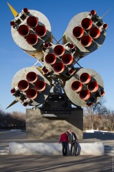 Soyuz rocket monument in the city of Baikonur photo CHERNOBYLwel.come tour