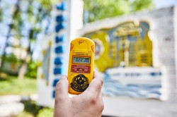 Chernobyl sign city geiger counter