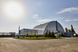 Main entrance to the Chernobyl Nuclear Power Plant