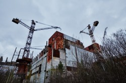 Unfinished reactor nr. 5 and nr.6 radiation photo now building abandoned